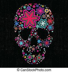 Colorful skull on black - cartoon illustration