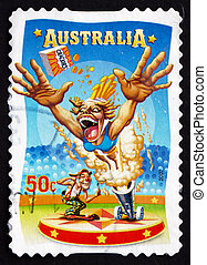 Postage stamp Australia 2007 Human Cannonball, Circus Acts -...