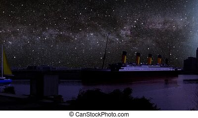 ships in waterfront at night - titanic and ships from all...