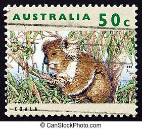Postage stamp Australia 1992 Koala, Herbivorous Marsupial -...