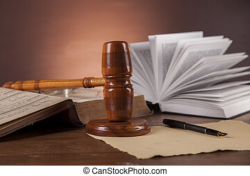 Wooden desk in a law firm  - Law and justice theme