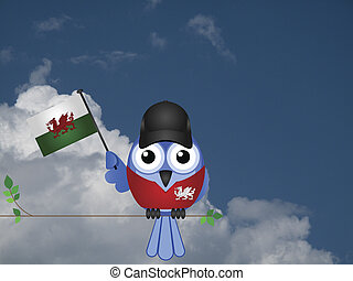 Welsh Patriot - Comical Welsh flag waving bird Patriot sat...