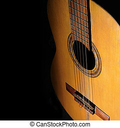 Acoustic guitar background - Detail of old acoustic guitar...