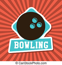 bowling label over rays background vector illustration