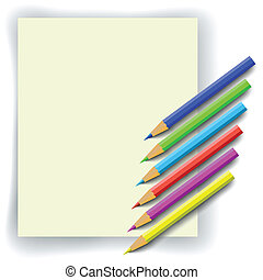 colorful pencils and paper - set of colorful pencils and...