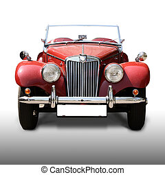 Old car - old antique red car isolated on white background