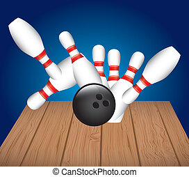bowling alley over blue background vector illustration