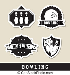 bowling labels over beige background vector illustration