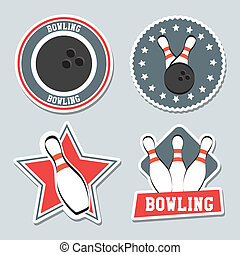 bowling labels over blue background vector illustration