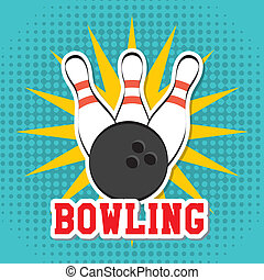 bowling design over dotted background vector illustration