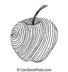 black apple label on simple white background