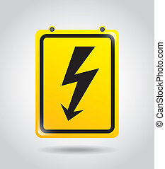 high voltage over gray background vector illustration