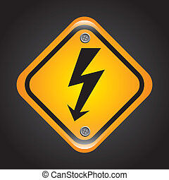 high voltage over black background vector illustration