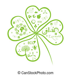 Clover info graphic with Eco signs on simple white...