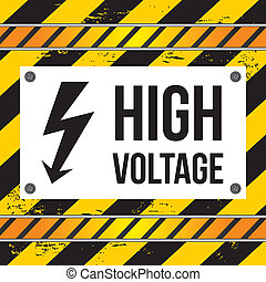 high voltage over lines background vector illustration