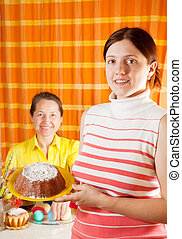 women are preparing for  Easter holiday