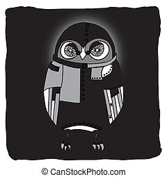 Black robotic owl on black background
