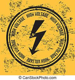high voltage over vintage background vector illustration
