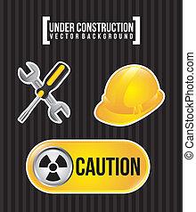 under construction over black background vector illustration...