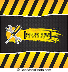 under construction design over black background vector...