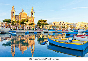 Malta view at golden hour - View of Valletta harbour at the...