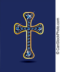 Christian Cross with Sapphires - Stunning Christian Cross...
