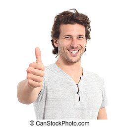 Portrait of an attractive man with thumb up gesture isolated...