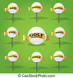 Golf ball and banner design elements - Set of golf design...