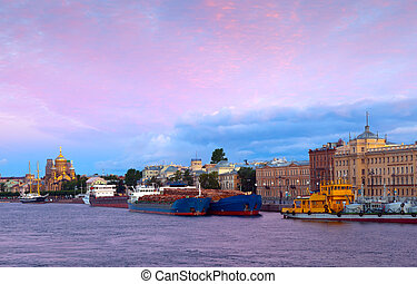 Cargo ships at Neva river in morning - View of St....