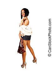 Girl with two handbag's.