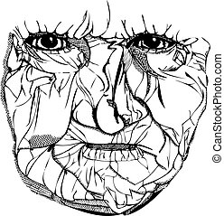 Old Lady Wrinkled Face Vector - An isolated vector...