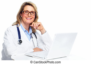 Doctor woman with laptop computer - Smiling medical doctor...