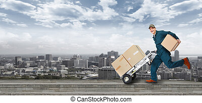 Running Delivery postman Shipping and transportation service...