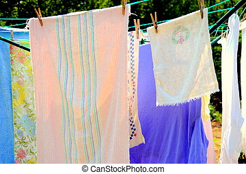 Wash day. - Wash day with towels hanging on the line.