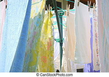 Wash day. - Wash day with towels drying on the line.
