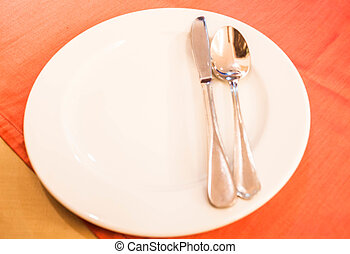 Dining plate with metal knife and spoon - Dining plate with...
