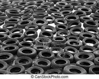 Trye Cover - Used tyres holding down white cover over silage...