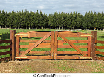 Brown Gates - Nice strong brown wooden farm gateway, with...