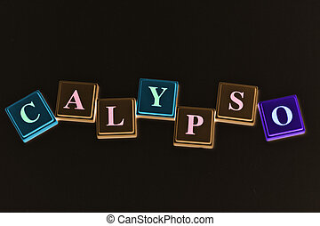 Calypso is spelled out in block letters in green, brown and...