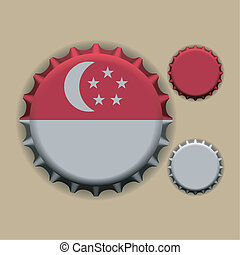 Bottle caps - An illustration of a bottle cap with a country...