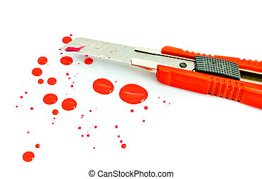 box cutter with bloody blade on white