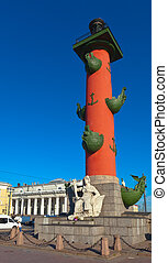 View of St. Petersburg. Rostral column in sunny day