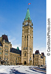 Peace Tower - View of Peace Tower on Parliament hill in...