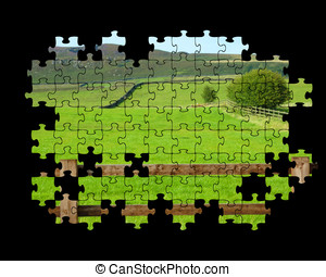 Yorkshire Dales puzzle - Partially completed jigsaw puzzle...