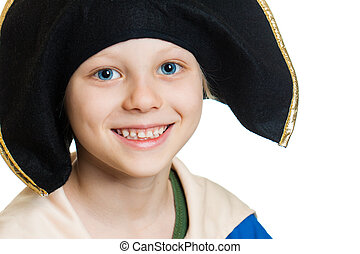 Cute happy pirate boy - A close-up portrait of a smiling...