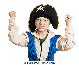 Boy dressed as angry pirate