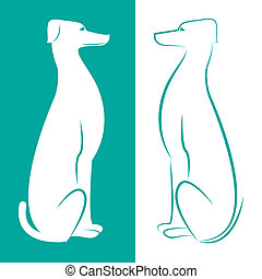 Vector image of an dog on white and cerulean background