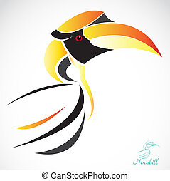 Vector image of an hornbill on a white background
