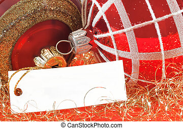 Christmas balls with a blank note - for text (clip path for...