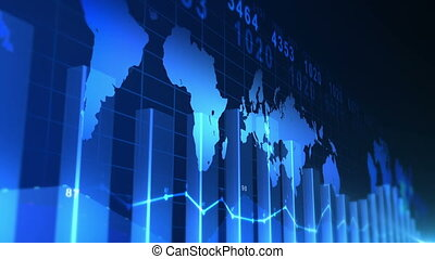 Business Chart Background - Looping blue business chart...